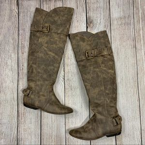 Not Rated Distressed Over the Knee High Flat Boots
